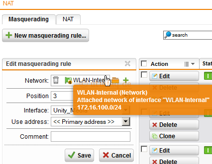 Network Protection NAT Masquerading New Masquerading rule Sophos UTM