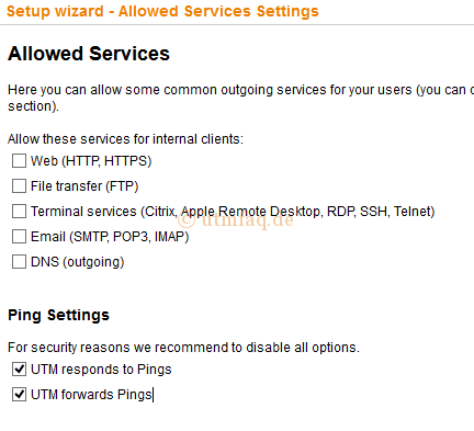 Sophos UTM Setup wizard Allowed Services Settings